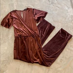One Clothing Purple Velvet Jumpsuit
